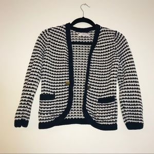 LOFT Cable Knit Striped Cardigan Sweater - #1011